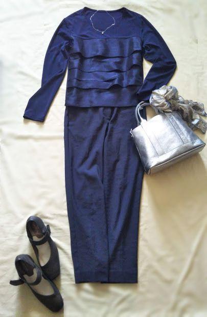 BEVINIのバッグ、ヒロコビスのカットソー、PLSTパンツ、バークレーのパンプス