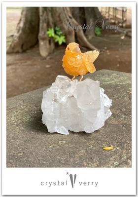 鳥の置物クリスタルベリー