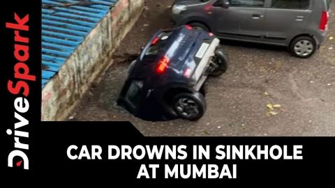 駐車場で自動車が水没_01