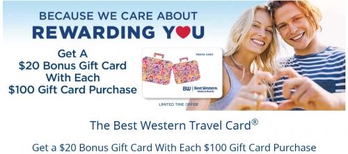 ベストウエスタンリワード$ 100のトラベルカード購入ごとに$ 20ボーナス