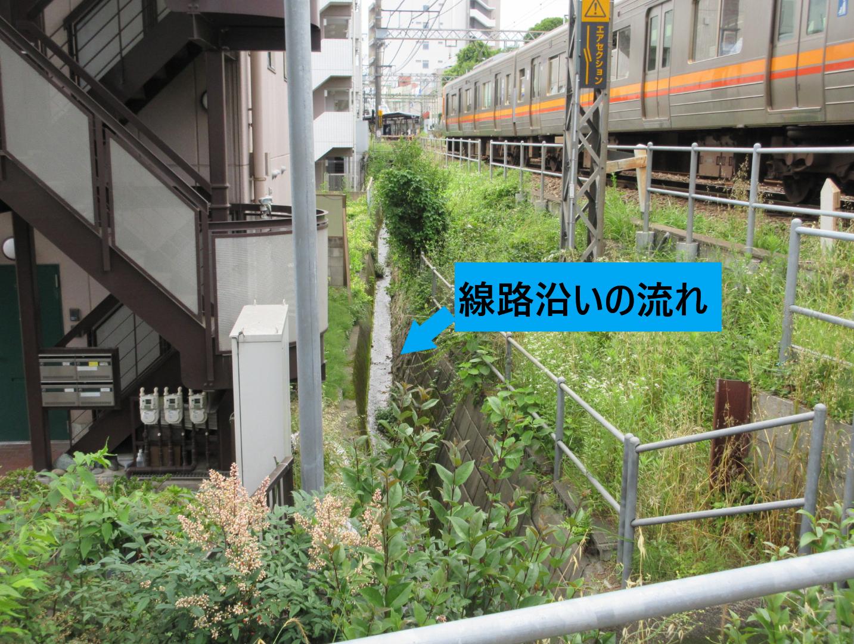 線路沿いの流れ 代田・代沢散策1