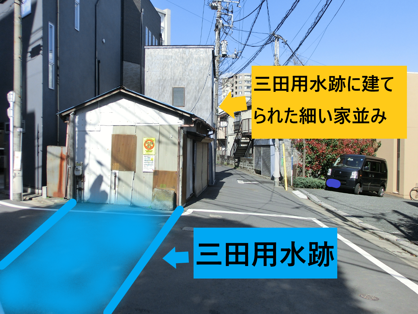 細い家並み1 三田用水散策8