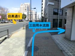 右の裏道に入る 三田用水散策8