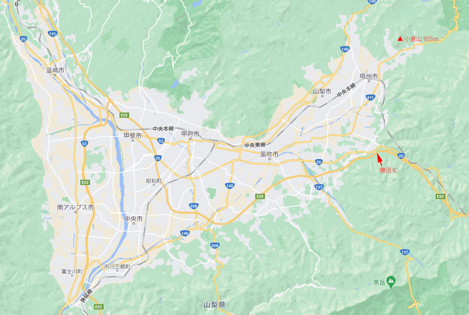 甲府盆地と小倉山地図 960×645