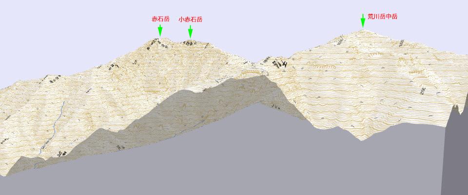 中央アルプス 3D地図山名入り 960×645