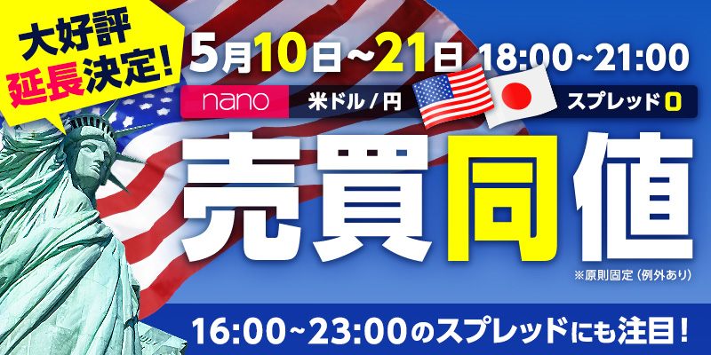 nano米ドル/円スプレッド縮小キャンペーン