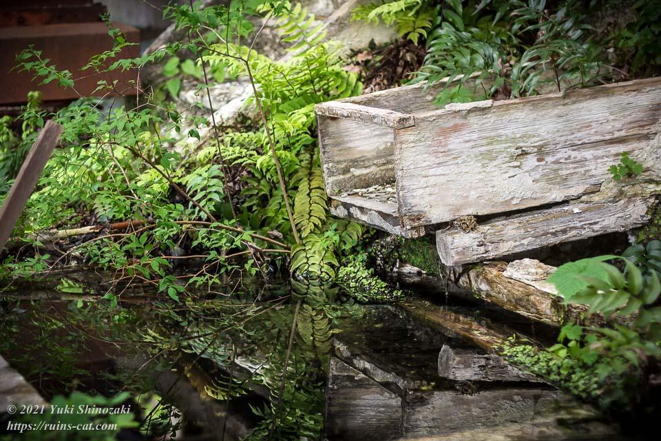 往時は鉱石が勢い良く飛び出してきた樋も、今では水辺に静かにその身を横たえている