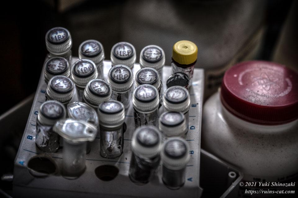 箱に並べられたマイクロチューブとウシ血清アルブミンの容器