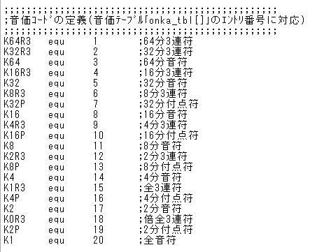 STM32電子オルゴール音価コーディング定義