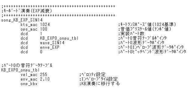 STM32電子オルゴール音符コードのフィールド定義(キーボード演奏の検討)ソングデータ(EXP減衰)