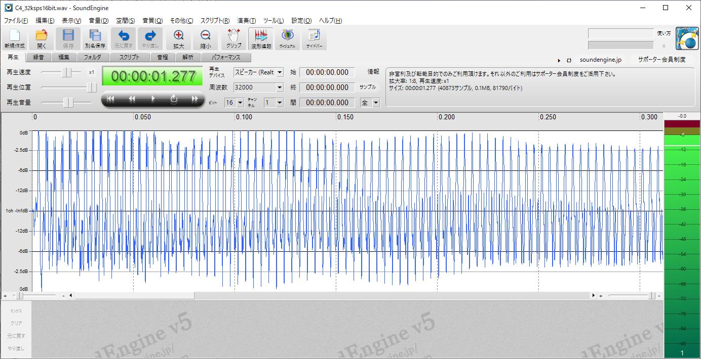 STM32電子オルゴールVer1_2(ピアノ音源)C4波形2