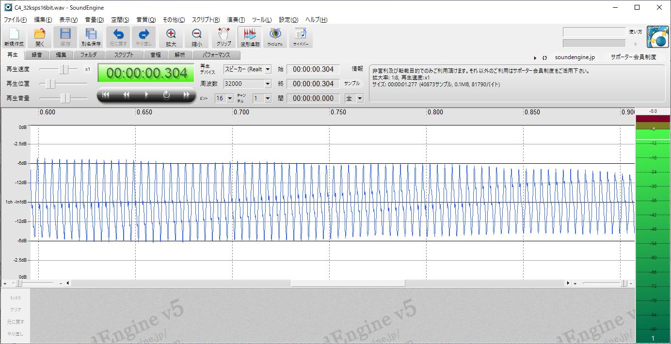 STM32電子オルゴールVer1_2(ピアノ音源)C4波形4