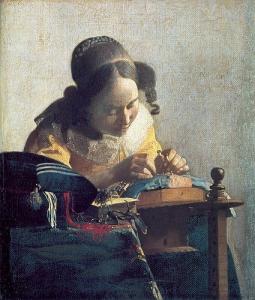 レースを編む女