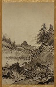 「秋冬山水図」の、うち秋景