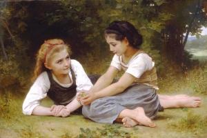 木の実を集める少女たち