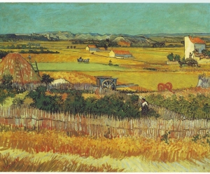 クロー平野の収穫、背景にモンマジュール(収穫)