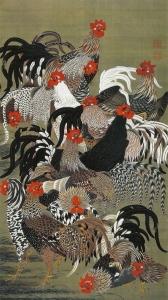 『動植綵絵』の内「群鶏図」