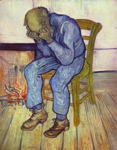 悲しむ老人